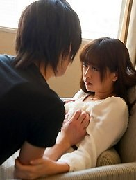 Cute and adorable Japanese av idol Mamika kisses her boyfriend with all her love