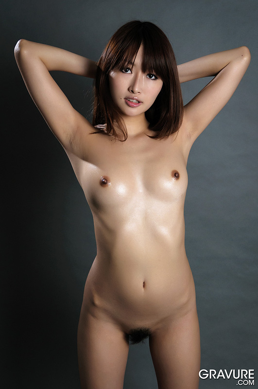 Beauty mana aoki small breasts oiled up and posing nude